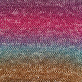 knitted swatch of uluru rainblow in colors of purple, pink, teal and brown self striping yarn