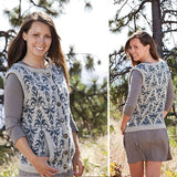 composite image showing the front and back of evening primrose pattern a button up sleeveless vest with pockets featuring brocade colorwork shown in light grey with blue brocade, the edges feature a narrow rib pattern