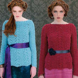 two women wearing the hermione lace sweater with full length sleeves, boat neck, and picot edges, the left sweater is knit in a light sky blue, and the right sweater is a deep cherry red. From the Louisa Harding Nerissa #115 Pattern Book