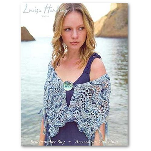 Louisa Harding Beachcomber Bay Knitting Pattern Book #4 Accessories Cover a woman stands on the beach wearing a wavey lace shawl with fringe on the edge