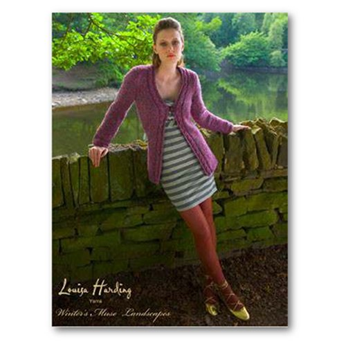 Cover of Louisa Harding's Winters Muse Landsapes knitting pattern book with woman wearing a green and white striped dress and a long purple cardigan fastened at the chest with one button