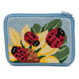 beginner needlepoint coin ourse kit, stithc & zip ladybugs