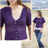 composite image of larkspur cardigan knit in a fingering weight purple yarn with garter stitch and a lace section just under the bust- from the high desert knitting collection book by jennifer thompson