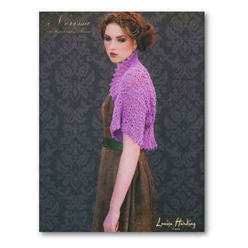 cover of louisa harding's nerissa pattern book with a woman on the front wearing a lace bolero knit in a bright lavender