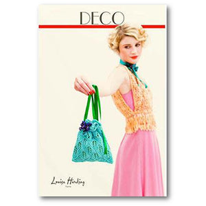 Cover of Louisa Harding's Deco Pattern Knitting Book #20 showing a woman wearing a yellow knitted sweater, holding a lace satchel tied with ribbon