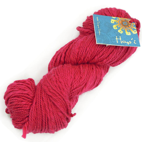 one twisted hank of mirasol yarns hap'i peruvian fair trade cotton worsted  in bright cherry red