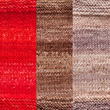 maya shawl color swatch sample for three colors of urth monokrom worsted in  4051 red 4060 chocolate and 4062 beige