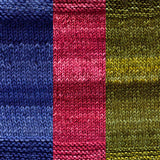 maya shawl color swatch sample for three colors of urth monokrom worsted in  4056 cobalt blue 4054 red wine 4059 moss green