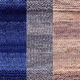 maya shawl color swatch sample for three colors of urth monokrom worsted in  4056 royal blue 4064 soft grey 4062 beige