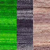maya shawl color swatch sample for three colors of urth monokrom worsted in 4058 apple green, 4063 charcoal grey, 4062 beige