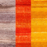 maya shawl color swatch sample for three colors of urth monokrom worsted in 4062 beige, 4052 tangerine, 4053 yellow
