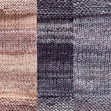 maya shawl color swatch sample for three colors of urth monokrom worsted in 4062 beige, 4063 charcoal grey, 4064 steel grey