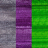 maya shawl color swatch sample for three colors of urth monokrom worsted in 4064 steel grey, 4055 violet purple, 4058 apple green