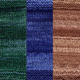 maya shawl color swatch sample for three colors of urth monokrom worsted in 4065 sea green, 4056 cobalt blue, 4060 chocolate brown