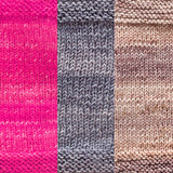 maya shawl color swatch sample for three colors of urth monokrom worsted in 4066 hot pink, 4064 steel grey, 4062 beige