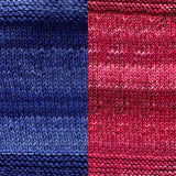 maya shawl color swatch sample for two colors of urth monokrom worsted in 4056 cobalt and 4054 red wine