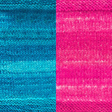 maya shawl color swatch sample for two colors of urth monokrom worsted in 4057 aqua, 4066 hot pink
