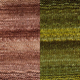 maya shawl color swatch sample for two colors of urth monokrom worsted in 4060 chocolate, 4059 moss green