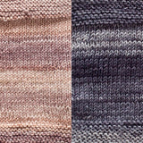 maya shawl color swatch sample for two colors of urth monokrom worsted in 4062 beige and 4063 steel grey
