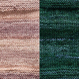 maya shawl color swatch sample for two colors of urth monokrom worsted in 4062 beige and 4065 sea green