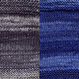 maya shawl color swatch sample for two colors of urth monokrom worsted in 4063 charcoal grey and cobalt blue 4056