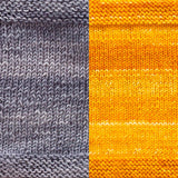 maya shawl color swatch sample for two colors of urth monokrom worsted in 4064 steel grey and 4053 daisy yellow
