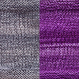 maya shawl color swatch sample for two colors of urth monokrom worsted in 4064 steel grey and 4055 purple violet
