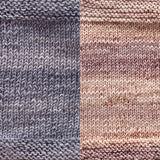 maya shawl color swatch sample for two colors of urth monokrom worsted in 4064 steel grey and 4062 beige