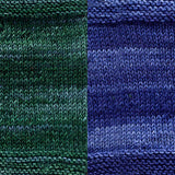 maya shawl color swatch sample for two colors of urth monokrom worsted in 4065 sea green and 4056 cobalt blue