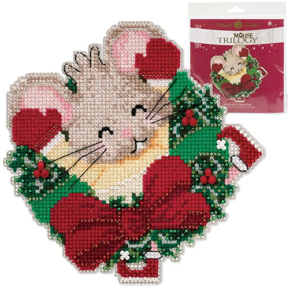 beaded cross stitch christmas tree ornament kit with a cute mouse poking its head through a wreath and raising its arms up in the air
