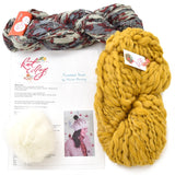 knit collage kit pixelated beret knitting kit spun cloud honey suckle wildflower dusty fleur