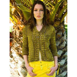 Planalto knitting pattern from Louisa Hardings Hummingbirds Pattern book. standing woman wearing a three quarter sleeve length knitted cardigan which features cabling down the front at the button edges. It's knit in Moss green wiht subtle mottled coloring