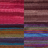 color samples of urth yarn monokrom DK and uneek DK for remy's wrap by marin melchoir in four colors burgundy, chocolate brown, stripes of blue brown , tan, purple and orange