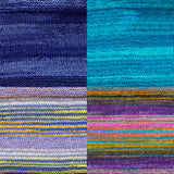 color samples of urth yarn monokrom DK and uneek DK for remy's wrap by marin melchoir in four colors  dark blueberry, bright tropical ocean blue, stripes of light grey, cobalt and yellow and purple yellow pink and light blue