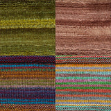 color samples of urth yarn monokrom DK and uneek DK for remy's wrap by marin melchoir in four colors moss green light sandy brown stripes of bright blue brown, grey and purple, and orange, red, green, blue yellow