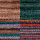 color samples of urth yarn monokrom DK and uneek DK for remy's wrap by marin melchoir in four colors light brown and deep blue green with stripes of blue green, tan, purple, grey, orange and red