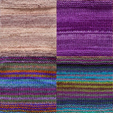 color samples of urth yarn monokrom DK and uneek DK for remy's wrap by marin melchoir in four colors ligth sand tan, rich royal purple, stripes of purple green orange blue