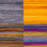 color samples of urth yarn monokrom DK and uneek DK for remy's wrap by marin melchoir in four colors light grey, bright yellow, and stripes of muted green orange yelow grey fuchsia purple yellow and light blue