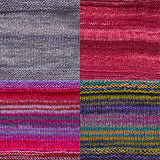 color samples of urth yarn monokrom DK and uneek DK for remy's wrap by marin melchoir in four colors light grey, cranberry red, and stripes of fuchsia, lilac, denim blue, lime green purple and grey
