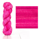 Urth Yarns composite image knitted swatch and twisted hank in colors of light and dark hot pink 3066