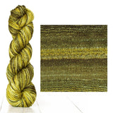 Urth Yarns composite image knitted swatch and twisted hank in colors of light and dark moss green 3059