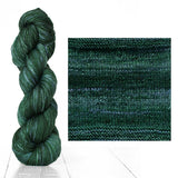 Urth Yarns composite image knitted swatch and twisted hank in colors of sea green 3065