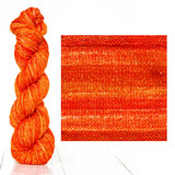 Urth Yarns composite image knitted swatch and twisted hank in colors of tangerine orange 3052