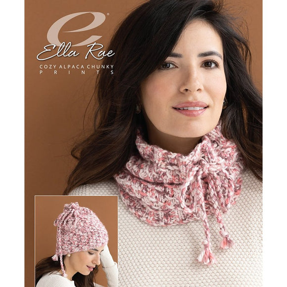 image of a woman wearing a knitted cowl in speckled shades of pink, it features a braided tie, in the lower left corner it shows that the cowl can also be worn as a hat if you put it on your head and scrunch it up at the top