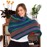 3 color version of maya wrap with garter stitch brioche eyelets and linen stitch in worsted weight monokrom