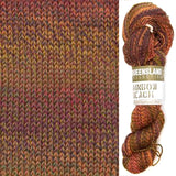 composit image of queensland collection rainbow beach showing a knitted swatch and an image of the yarn hank in colorway 114 turkey hill a desert blend of tans, brown and rich russet colors