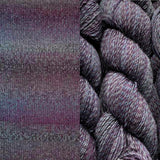 composit image of queensland collection rainbow beach showing a knitted swatch and an image of the yarn hank in colorway 119 sydney sands blended stripes of plum purple, medium and dark greys