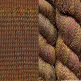 composit image of queensland collection rainbow beach showing a knitted swatch and an image of the yarn hank in colorway 127 old rainworth warm browns and tans