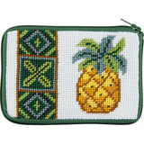 beginner needlepoint coin ourse kit, stithc & zip pineapple