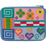 beginner needlepoint coin ourse kit, stithc & zip patchwork